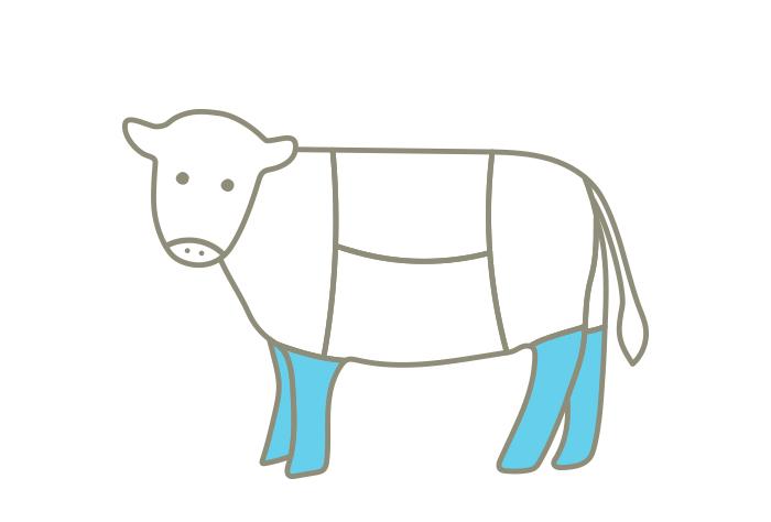 牧草牛のシャンク